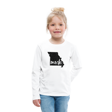 Load image into Gallery viewer, Made (Missouri black print) Kids' Premium Long Sleeve T-Shirt - white