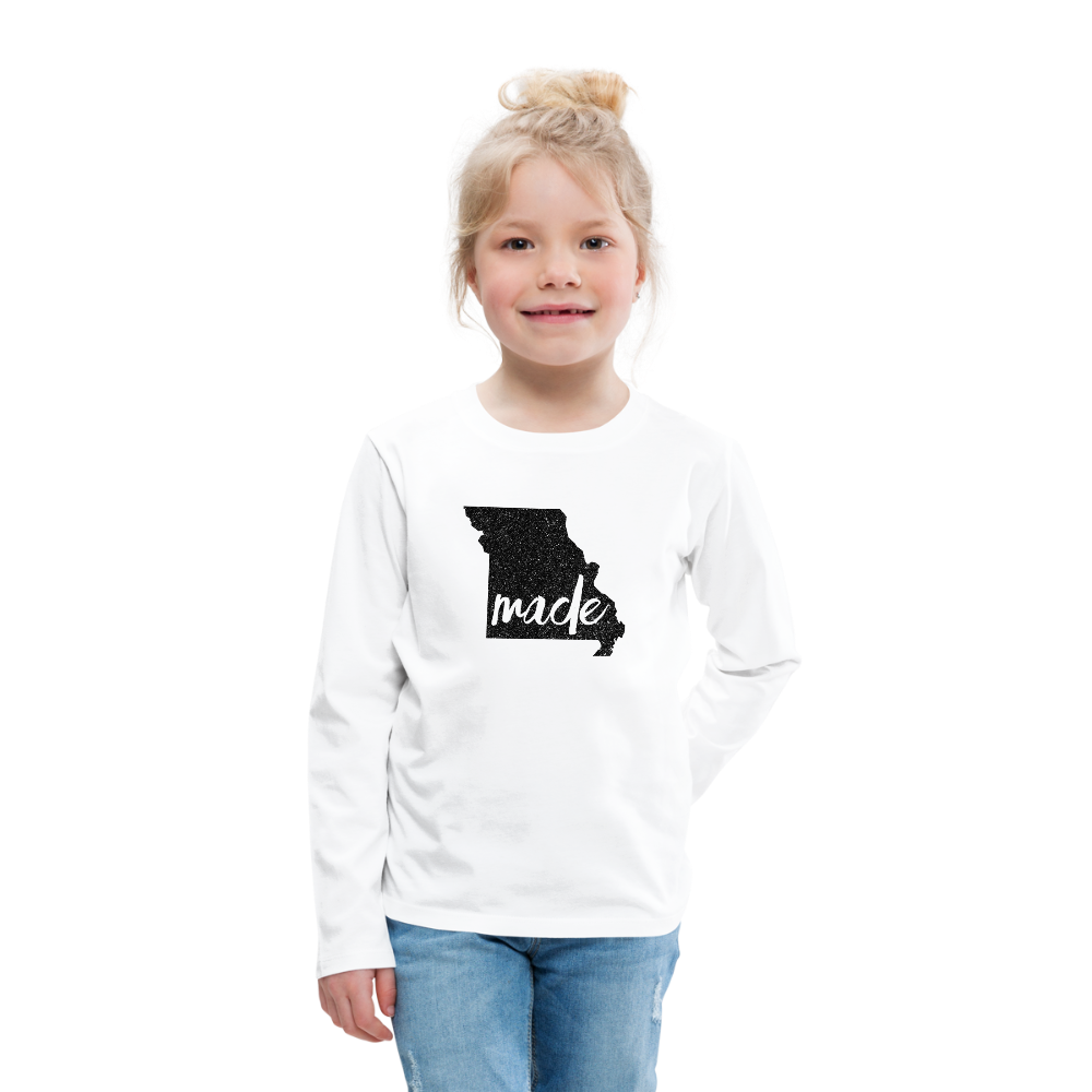 Made (Missouri black print) Kids' Premium Long Sleeve T-Shirt - white