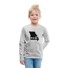 Load image into Gallery viewer, Made (Missouri black print) Kids' Premium Long Sleeve T-Shirt - heather gray