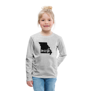 Made (Missouri black print) Kids' Premium Long Sleeve T-Shirt - heather gray