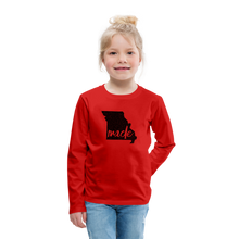 Load image into Gallery viewer, Made (Missouri black print) Kids' Premium Long Sleeve T-Shirt - red