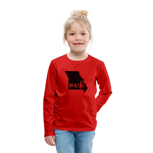 Made (Missouri black print) Kids' Premium Long Sleeve T-Shirt - red