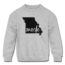 Load image into Gallery viewer, Made (Missouri black print) Kids' Crewneck Sweatshirt - heather gray