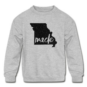 Made (Missouri black print) Kids' Crewneck Sweatshirt - heather gray