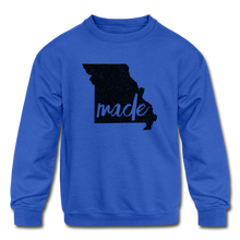 Load image into Gallery viewer, Made (Missouri black print) Kids' Crewneck Sweatshirt - royal blue