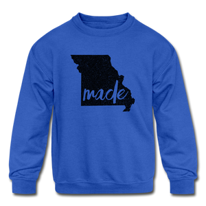 Made (Missouri black print) Kids' Crewneck Sweatshirt - royal blue