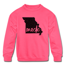Load image into Gallery viewer, Made (Missouri black print) Kids' Crewneck Sweatshirt - neon pink