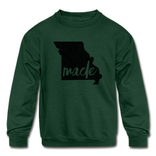 Load image into Gallery viewer, Made (Missouri black print) Kids' Crewneck Sweatshirt - forest green