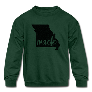 Made (Missouri black print) Kids' Crewneck Sweatshirt - forest green