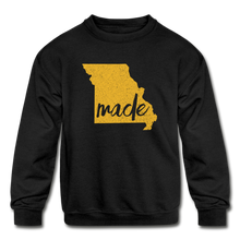 Load image into Gallery viewer, Made (Missouri Gold print) Kids' Crewneck Sweatshirt - black