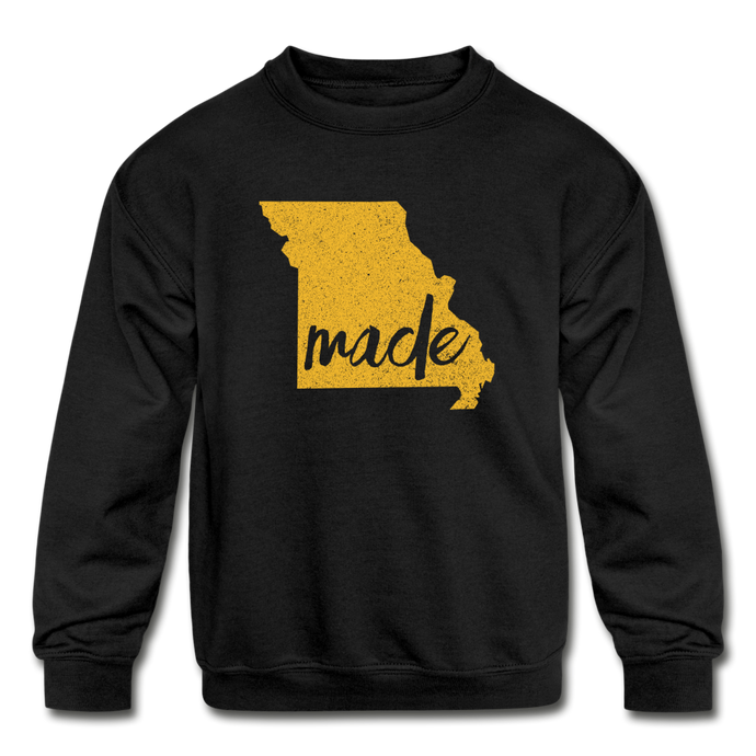 Made (Missouri Gold print) Kids' Crewneck Sweatshirt - black