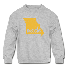 Load image into Gallery viewer, Made (Missouri Gold print) Kids' Crewneck Sweatshirt - heather gray