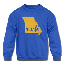 Load image into Gallery viewer, Made (Missouri Gold print) Kids' Crewneck Sweatshirt - royal blue