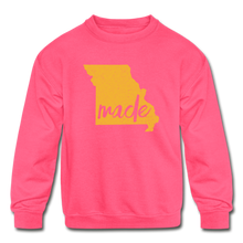 Load image into Gallery viewer, Made (Missouri Gold print) Kids' Crewneck Sweatshirt - neon pink
