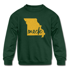 Load image into Gallery viewer, Made (Missouri Gold print) Kids' Crewneck Sweatshirt - forest green