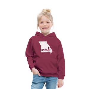 Made (Missouri white print) Kids' Premium Hoodie - burgundy