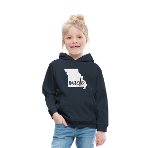 Made (Missouri white print) Kids' Premium Hoodie - navy