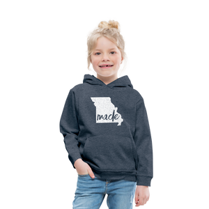 Made (Missouri white print) Kids' Premium Hoodie - heather denim