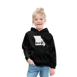 Made (Missouri white print) Kids' Premium Hoodie - charcoal gray