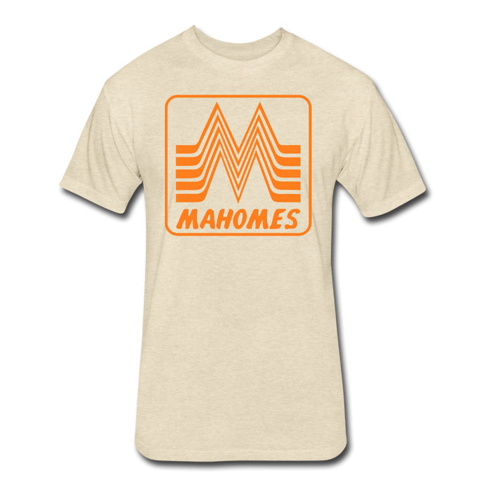 Mahomes Burger- Fitted Cotton/Poly T-Shirt by Next Level - heather cream
