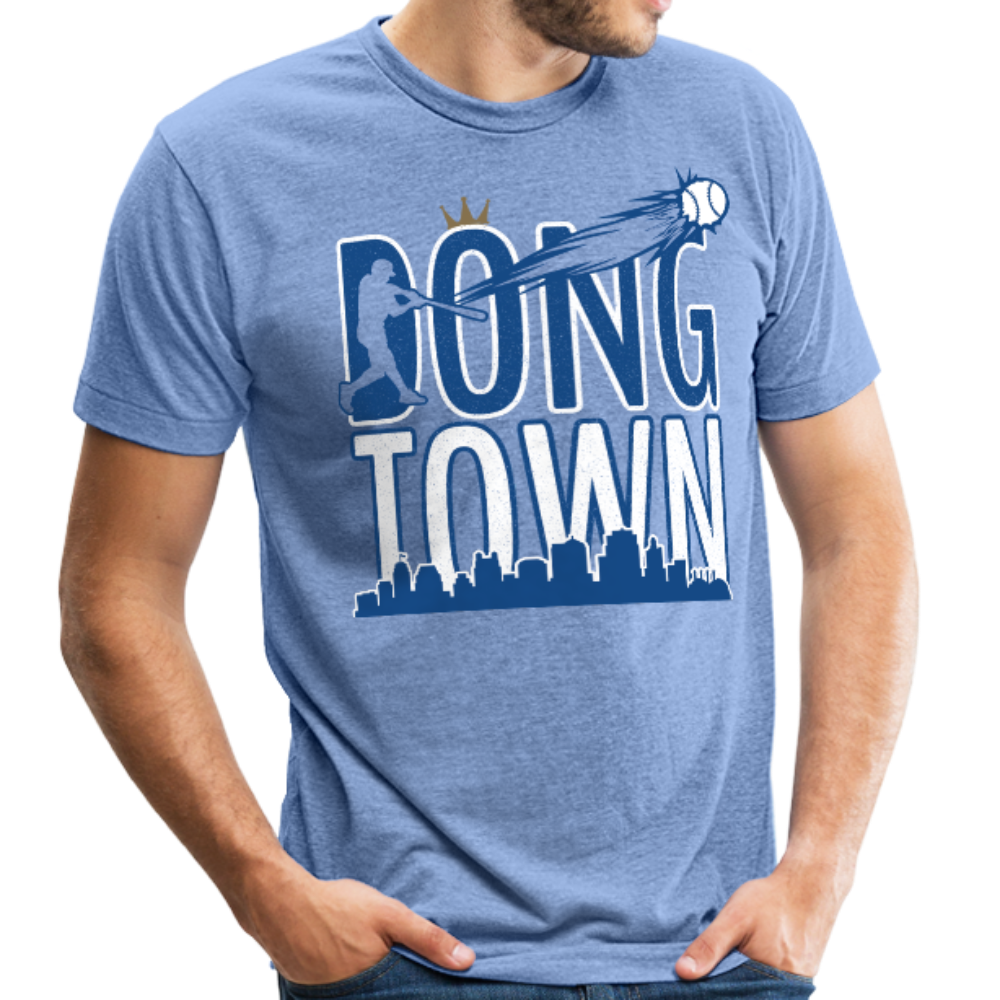 DongTown - Unisex Tri-Blend T-Shirt - heather Blue