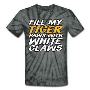 Fill My Tiger Paws with White Claws -  Tie Dye T-Shirt - spider black