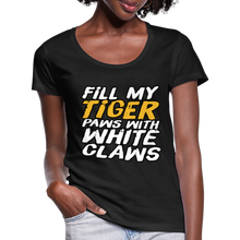 Load image into Gallery viewer, Fill my Tiger Paws with White Claws -Women's Scoop Neck T-Shirt - black