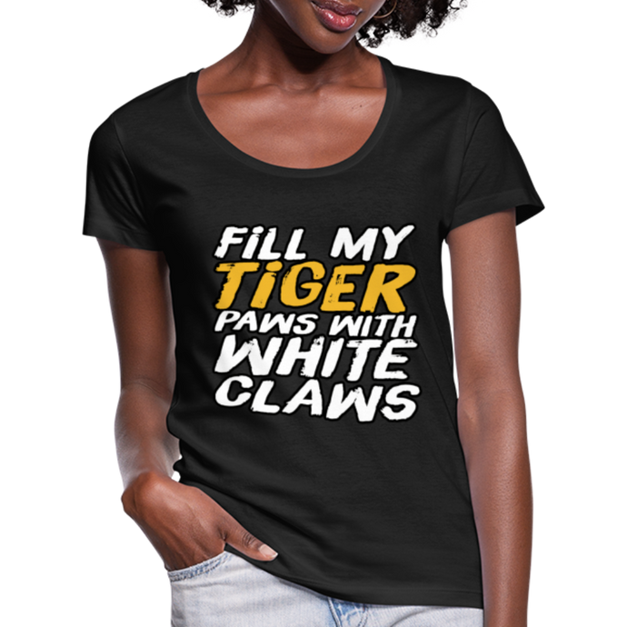 Fill my Tiger Paws with White Claws -Women's Scoop Neck T-Shirt - black