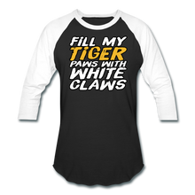 Load image into Gallery viewer, Fill My TIger Paws with White Claws - Baseball T-Shirt - black/white