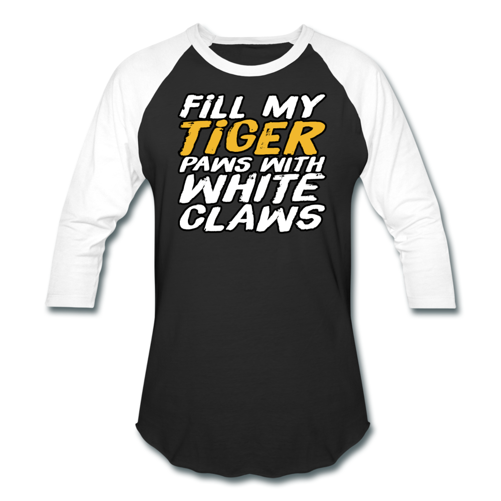 Fill My TIger Paws with White Claws - Baseball T-Shirt - black/white