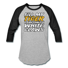 Load image into Gallery viewer, Fill My TIger Paws with White Claws - Baseball T-Shirt - heather gray/black