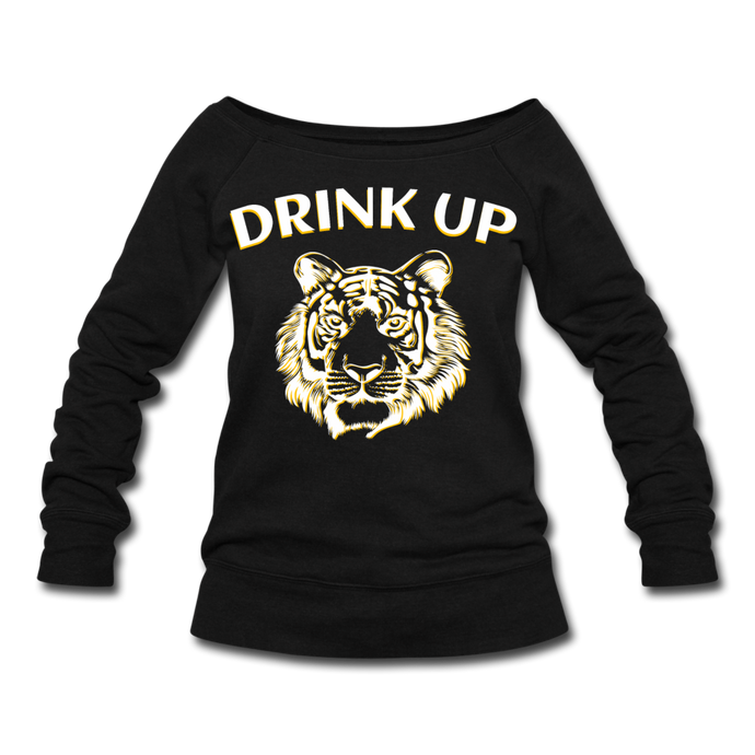 Drink Up Tiger - Women's Wideneck Sweatshirt - black