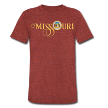 Load image into Gallery viewer, MISSOURI SCRIPT W/SEAL - Unisex Tri-Blend T-Shirt - heather cranberry