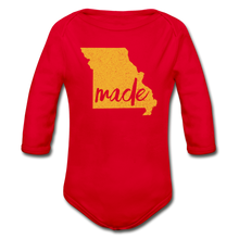 Load image into Gallery viewer, Made (Missouri gold print) Organic Long Sleeve Baby Bodysuit - red