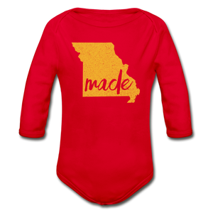 Made (Missouri gold print) Organic Long Sleeve Baby Bodysuit - red