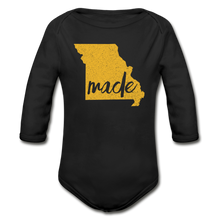 Load image into Gallery viewer, Made (Missouri gold print) Organic Long Sleeve Baby Bodysuit - black