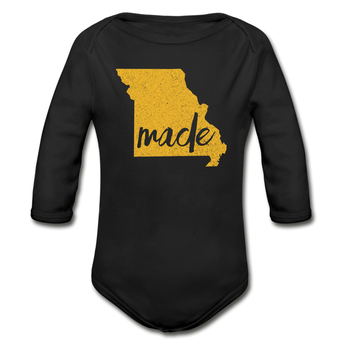 Made (Missouri gold print) Organic Long Sleeve Baby Bodysuit - black