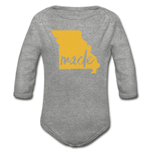 Load image into Gallery viewer, Made (Missouri gold print) Organic Long Sleeve Baby Bodysuit - heather gray