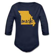 Load image into Gallery viewer, Made (Missouri gold print) Organic Long Sleeve Baby Bodysuit - dark navy