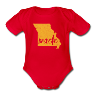 Made (Missouri gold print) Organic Short Sleeve Baby Bodysuit - red