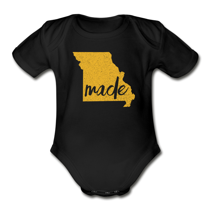 Made (Missouri gold print) Organic Short Sleeve Baby Bodysuit - black