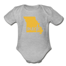 Load image into Gallery viewer, Made (Missouri gold print) Organic Short Sleeve Baby Bodysuit - heather gray