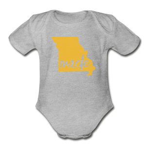 Made (Missouri gold print) Organic Short Sleeve Baby Bodysuit - heather gray