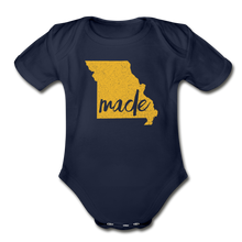 Load image into Gallery viewer, Made (Missouri gold print) Organic Short Sleeve Baby Bodysuit - dark navy