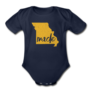 Made (Missouri gold print) Organic Short Sleeve Baby Bodysuit - dark navy