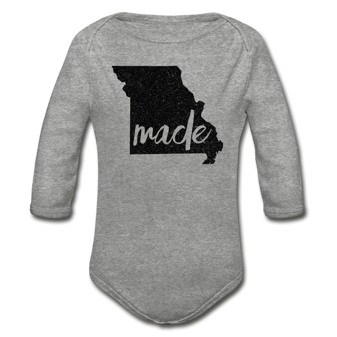 Made (Missouri black print) Organic Long Sleeve Baby Bodysuit - heather gray