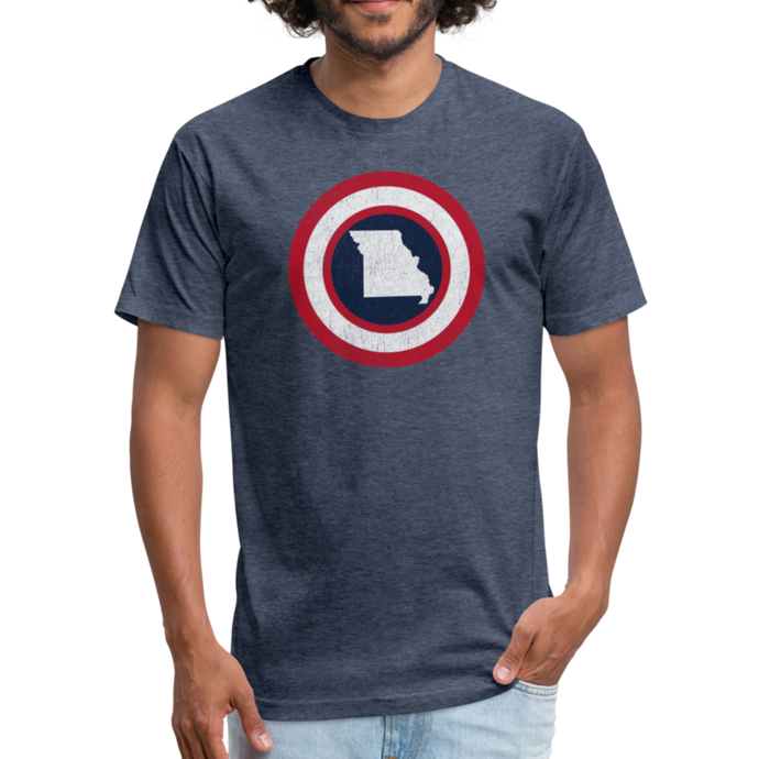 Captain Missouri - Fitted Cotton/Poly T-Shirt by Next Level - heather navy