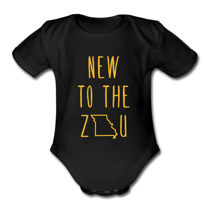 Rookie - Organic Short Sleeve Baby Bodysuit (Gold Print) - black