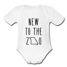 Load image into Gallery viewer, Rookie - Organic Short Sleeve Baby Bodysuit (Black Print) - white
