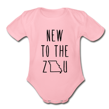 Load image into Gallery viewer, Rookie - Organic Short Sleeve Baby Bodysuit (Black Print) - light pink